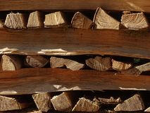 Firewood outside stored. In the photo are visible stacked firewood. Firewood is stored outside in the open air Royalty Free Stock Photo