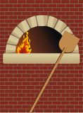Firewood oven. With shovel on brick wall Stock Image