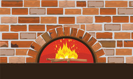 Firewood oven on brick wall. Flat and solid color design Royalty Free Stock Image