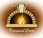 Firewood oven logo or badge. Showing a vector illustration of an arched oven with a burning flame in a brick surround suitable for a pizzeria or restaurant Royalty Free Stock Images