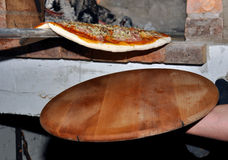 Firewood oven pizza Stock Photos