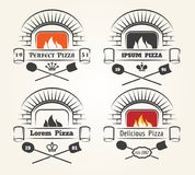 Firewood oven pizza logo. Traditional pizzeria emblems with fire, old wood fired brick oven and shovels  on white background, vector illustration Stock Image