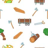 Firewood pattern, cartoon style. Firewood pattern. Cartoon illustration of firewood vector pattern for web Stock Images