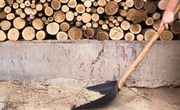 Firewood. A pile of chopped wood Stock Images