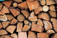 Firewood pile closeup. Stack of logs wood, for fire Stock Photos