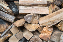Firewood. A pile of different shape and size of firewood Stock Photography