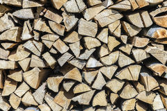 Firewood in a pile for furnace Stock Image