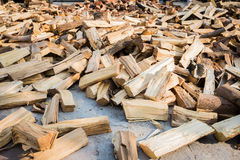 Firewood pile. On the ground Stock Photography