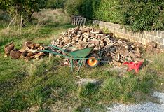 Firewood in a pile Stock Photos