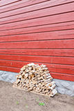 Firewood pile stored outside Stock Photos