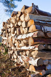 Firewood pile stored outside Royalty Free Stock Photography