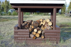 Firewood piled under a shelter Stock Images