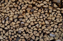 Firewood. Prepared for winter in the village stock photo