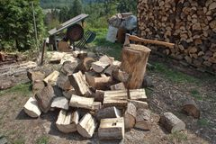 Firewood, preparing for winter Stock Photography