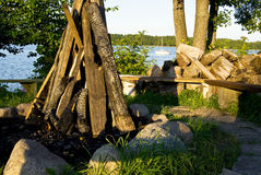 Firewood ready to make a fire . Royalty Free Stock Photos