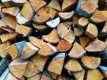 Firewood. Ready firewood for the winter Stock Photos