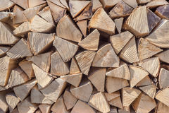 Firewood with ribbed intersection Royalty Free Stock Image