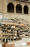 Firewood in sacred city Varanasi for people cremation ritual Royalty Free Stock Photography
