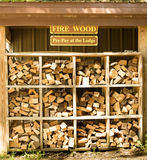 Firewood for Sale. Stacked and organized firewood for sale Stock Photography