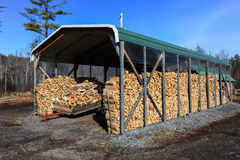 Firewood shed Royalty Free Stock Image
