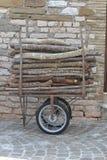 Firewood on a small wagon Stock Photo
