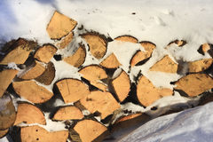 Firewood in the Snow Stock Photos