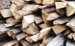 Firewood. Some cutted firewood in a garden royalty free stock image