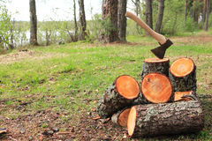 Firewood Splitting Stock Photography