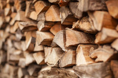 Firewood stack. Background of Heap firewood stack, natural wood Stock Images