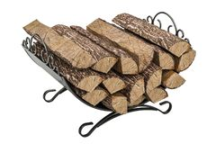 Firewood stack in cast iron grate, 3D rendering. Firewood stack in cast iron grate, 3D Royalty Free Stock Photography