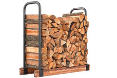 Firewood stack chopped. Bark on metal rack. 3D graphic Royalty Free Stock Images