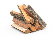 Firewood stack chopped. Firewood stack dry chopped, close view, objects. 3D graphic Stock Images