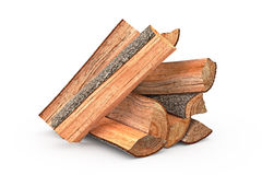Firewood stack chopped. Firewood stack dry chopped, close view, objects. 3D graphic Royalty Free Stock Photo