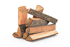 Firewood stack chopped. Firewood stack dry chopped, objects. 3D graphic Stock Image