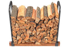 Firewood stack chopped, top view. Chopped woodpile on metal rack, top view. 3D graphic Stock Photo