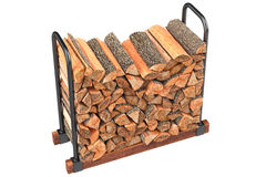 Firewood stack chopped woodpile. Firewood stack yellow chopped woodpile. 3D graphic Stock Photos