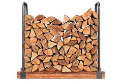 Firewood stack, front view. Firewood stack chopped with bark, front view. 3D graphic Royalty Free Stock Images