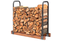 Firewood stack metal rack. Firewood stack chopped black metal rack. 3D graphic Stock Photo