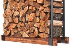 Firewood stack metal rack, close view. Firewood stack with bark on metal rack, close view. 3D graphic Stock Images