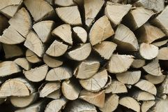 Firewood. Stack of split wood drying outdoors Stock Photo