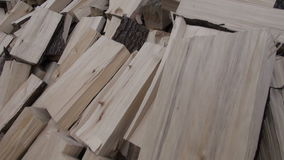 Firewood stack in spring farm garden stock video footage