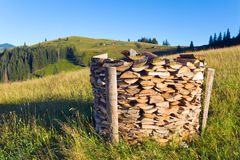 Firewood stack on summer mountains stock photography