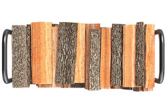 Firewood stack, top view. Firewood stack brown bark on metal rack, top view. 3D graphic Royalty Free Stock Photography