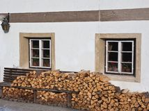 Firewood Stacked Against The Wall Stock Photo