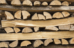 Firewood stacked for drying Stock Images