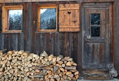 Firewood. Stacked in front of a wooden chalet Royalty Free Stock Image