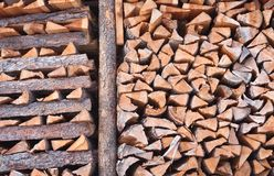 Firewood Stacked In A Pile Royalty Free Stock Photos