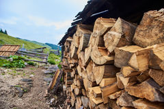 Firewood stacked outdoor Stock Photos
