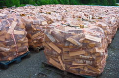 Firewood. Stacked for sale with net around Royalty Free Stock Photography