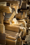 Firewood stacked and sunny day.  stock images